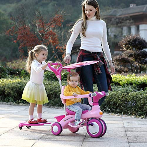 HYCy Children's Bicycle, Folding Bike 1-6 Years Old, Baby Stroller, 360° Guardrail, Removable Push Rod, Adjustable Awning, Ride-Sliding Integrated Double Car (Bike Stroller Double)