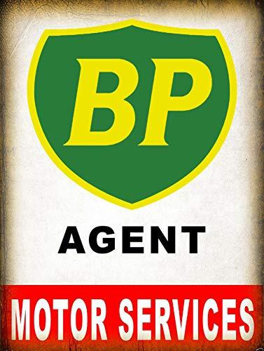 Bp Agent Motor Services Blechschilder Vintage Metall Poster Retro Schild Original Blechschild Plakette Poster Zum Bar Cafe Garage Tankstelle Zuhause Verein (Bp Tankstelle)