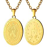 PROSTEEL Halskette Runde Wundertätige Medaille 18k vergoldet Oval Anhänger mit 55cm Kette Muttergottes Maria katholischer Schmuck für Männer Frauen(Gold)