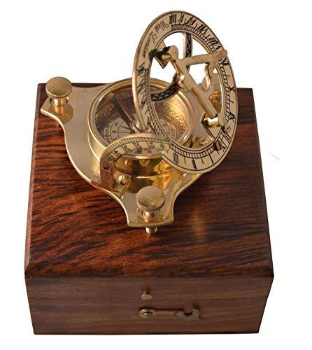 Zap Impex antike Sonnenuhr mit Kompass Nostalgie Messing Uhr in Holzkiste Holz Geschenk.