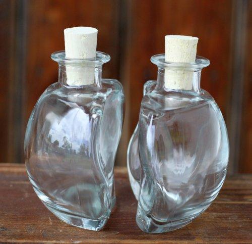 Glasflasche Ying & Yang 2x200ml leere Flaschen mit Korken, zum selbst Abfüllen, 2x0,2l Liter, Likörflasche Schnapsflasche Ölflasche 1 Paar