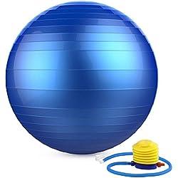 MoKo Pelota Pilates de 65cm,Extra Grueso Equipo Deportivo Antichoque para Yoga,Pilates,Gimnasio ect, Azul