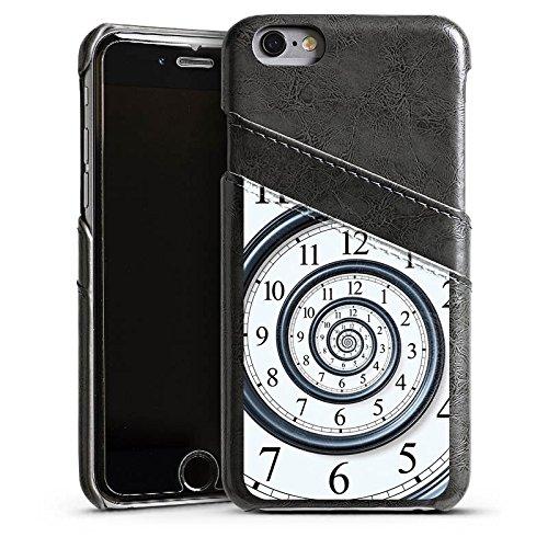 Apple iPhone 4 Housse Étui Silicone Coque Protection Temps Montre Vie Étui en cuir gris
