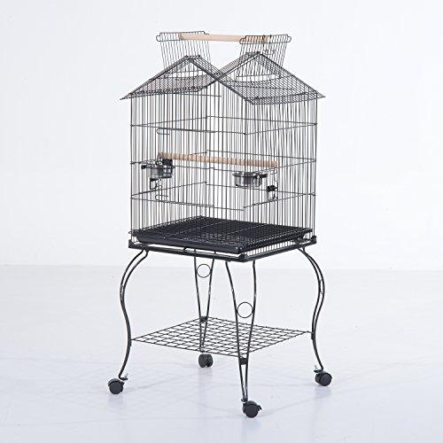 PawHut D10-025 Vogelkäfig/haus Voliere  Futternapf Rollbar Sitzstange Metall Wellensittich Kanarien (Modell 2), schwarz