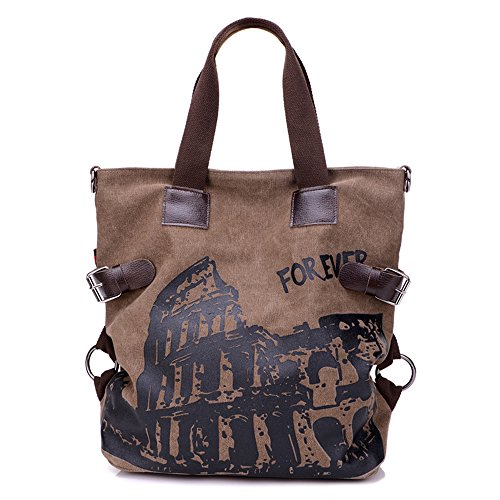 BYD - Donna Large Bag Borse a spalla Mutil Pocket Design Bag Crossbody Bag Borse Tote Borse a mano Canvas with Rome Arena Picture Brown