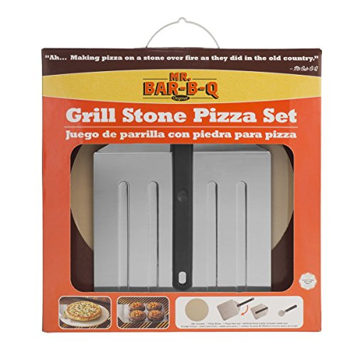 Mr. Bar-B-Q 06187 X Backen Stein mit Pizza Peel - Braun (Mr Grill-tools)