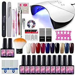 Saint-Acior Nail Art Kit 10pc Vernis Semi Permanent 36W UV/LED Lampe USB Sécher Vernis A Ongle Soak Off UV Gel Base Coat Top Coat Brosse Strass Décor Nail Outils Manucure# G10C