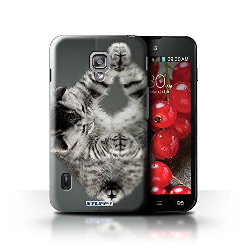 Kobalt® Imprimé Etui / Coque pour LG Optimus L7 II Dual / Blanc et moelleux conception / Série Chatons mignons Miroir
