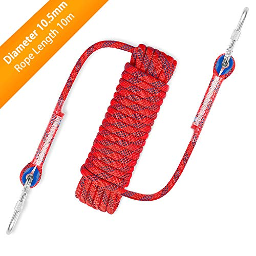 Awroutdoor Corda da Arrampicata Professionale,Corda Escursione Esterna,Corda da Arrampicata Fune di Sicurezza Attrezzature di Soccorso Corda Outdoor Rock Climbing Diametro 10.5mm, con Ganci