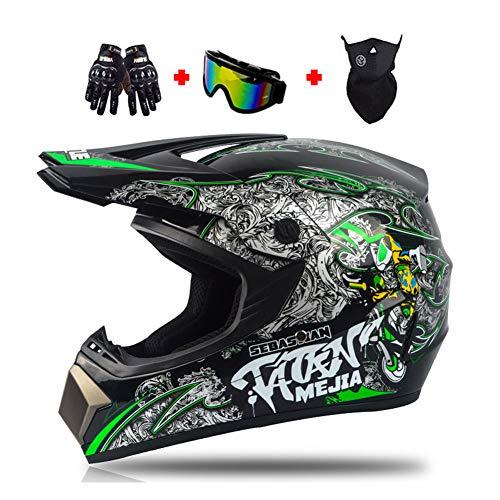 LEENY Motocross-Helm Grün Herren Crosshelm mit Brille Handschuhe Maske, Motorrad-Helm Damen Männer Racing Enduro Downhill-Helm Dirt Bikes ATV MTB BMX Quad Motorräder Offroad-Helm,M