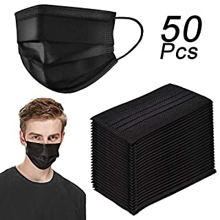 50 Pack Disposable Face Masks Four Layer Activated Carbon Filter Breathable Dust Filter Masks Mouth Cover Masks with Elastic Ear Loop (Black)