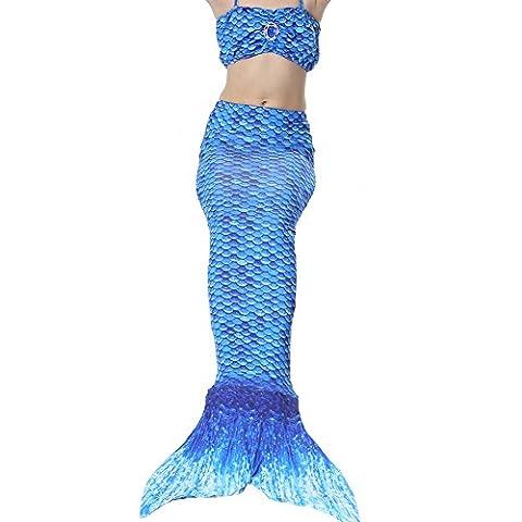 QIJOVO Fille Maillot de Bain Queue de Sirène Déguisement de Sirène pour Enfant (PAS de Flipper)