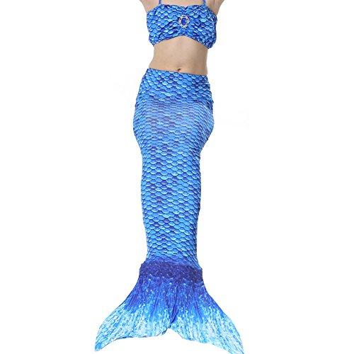 Meerjungfrau Kostüm, QIJOVO Mädchen Meerjungfrau Badebekleidung Meerjungfrauenschwanz für Kinder Schwimmen(3pcs Bikini Sets, Ohne (Kostüm Meerjungfrau Barbie)