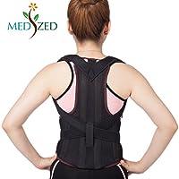 medized verstellbar Haltung Corrector Rückenstütze Schulter Rückseite Taille Gegenstütze Gürtel für Männer und Frauen (Large)