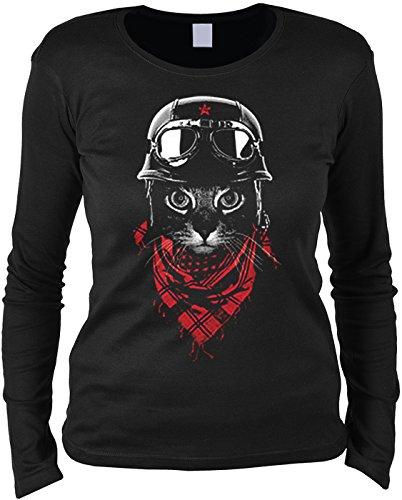 Unbekannt Motorrad Katze Langarmshirt Damen Helm/Brille : Acventurer Cat - Langarm T-Shirt Frauen Kunstdruck Katze Gr: M (Helm-t-shirt)