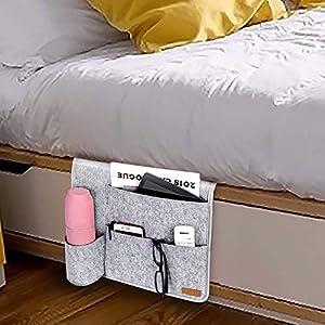 Bogeer Betttasche, Bett/Sofa Organizer, Dicke Filz Anti-Rutsch Nachttisch Tasche für Buch, Zeitschriften, iPad, Handy…