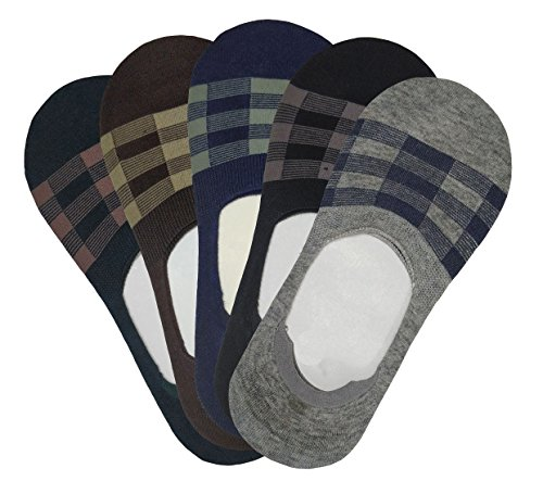 Miss U Unisex No Show High Quality Loafer Socks with Anti Slip Silicon System Multi-Coloured (Pack of 5)