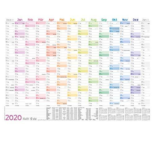 Wandkalender 2020 A2 [Rainbow], 59 x 42 cm für 14 Monate Dez 2019 - Jan 2021 | Wandplaner mit Ferien- und Feiertage-Übersicht, FSC®-Papier, gefalzt + extra A3 & A4 Kalender!