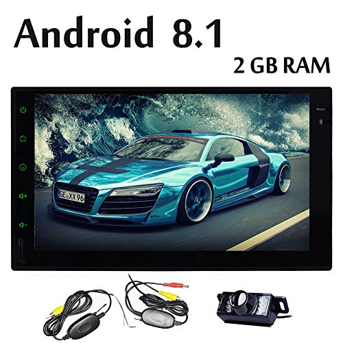 Wireless-Backup-Kamera + Android 8.1 Auto-Stereo 7 Zoll 2Din GPS mit 2 GB RAM / 16 GB ROM Quad-Core Autoradio Touch-Screen-No-DVD-Player eingebauten WiFi-Antenne Bluetooth AM / FM / RDS / USB DVR DAB