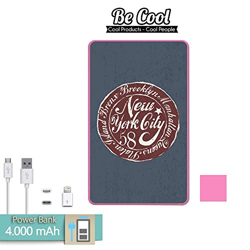 New Vollständige York (Becool® - Batería Externa Power Bank 4000 mah Pink + Gratis 1 cable USB-MicroUsb (Android) y adaptador lightning (Apple). New York city)