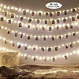 50 Leds Foto Clips Lichterkette,5.2 Meter/50 Foto Clips,Batteriebetrieben Stimmungsbeleuchtung,Clip Lichterkette Dekoration für Wohnzimmer,Bar,Cafe,Weihnachten,Hochzeiten,Party