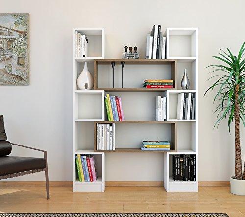 HOPE Libreria - Bianco / Noce - Scaffale per libri - Scaffale per ufficio / soggiorno dal design moderno