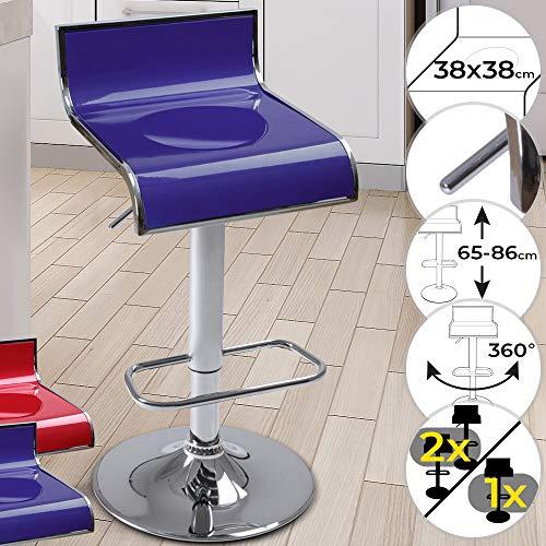 Miadomodo sgabello da bar - girevole a 360°, regolabile in altezza con poggiapiedi, struttura in metallo cromato, colore e scelta del set - sedia da bancone, da cucina, sedia alta
