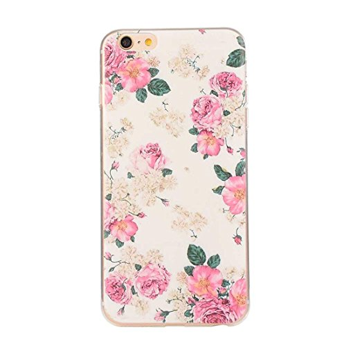 iPhone 6S Ultra Mince Fine Doux TPU Transparente Original Peinture Colorisée Serie - Anti choc Coque Case Etui Protection pour Apple iPhone 6 6S 4.7 inch - Fleur blanche color-8
