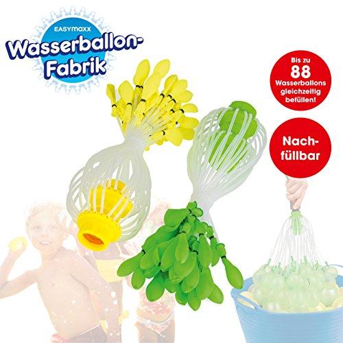 Wasserbomben-Fabrik - 88 Wasserbomben aufeinmal befüllen (inkl. 2x Nachfüllset, insgesamt 660  Wasserballons) Grün & Gelb