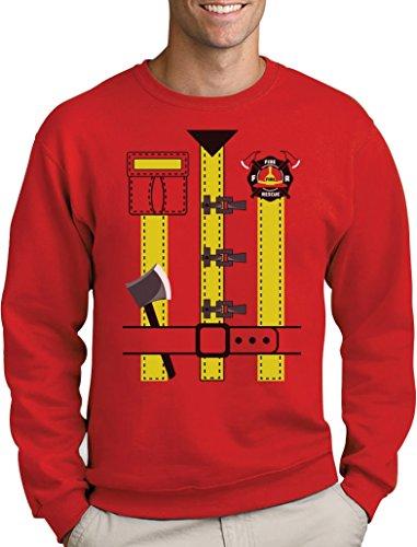 Karneval Feuerwehr Kostüm mit vielen Details Sweatshirt Small Rot