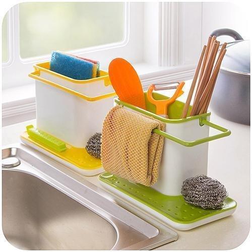 tuzech 3en 1soporte para fregadero de cocina para lavavajillas líquido, cepillo, esponja, barra de jabón y más