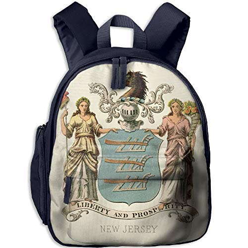 New Jersey State Coat of Arms Illustrated 1876 Kid and Toddler Casual Backpack College School Bag Travel Daypack