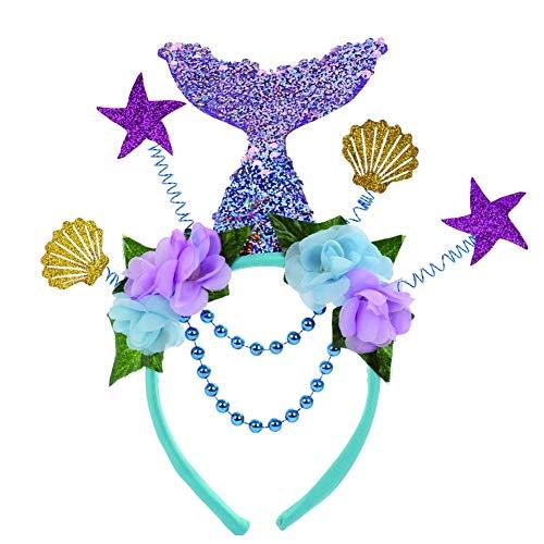 BARBEDINGROSE Mädchen Ozean Pailletten Muschel Meerjungfrau Stirnband, Halloween - Theater Meerjungfrau Kostüm