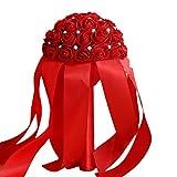outflower 1pc Multi-color di Matrimonio della nazionale di suministros Bouquet Bouquet damigella di Matrimonio Bouquet Bouquet di rose di sposa, 25* 15cm, Blu 25*15cm rosso