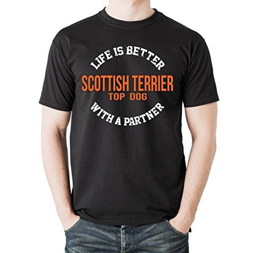 Siviwonder Unisex T-Shirt SCOTTISH TERRIER - LIFE IS BETTER PARTNER Hunde Schwarz