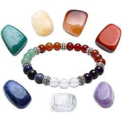 Jovivi 7 Pierres Chakras Naturelles Bracelet Extensible Perles d'Energie Tibétain Bouddhiste + 7 Pièrres Chakras Décoration Porte-Bonheur Thérapie Reiki Bibelot#01