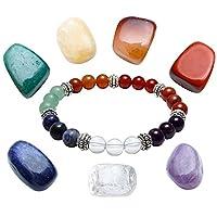 JOVIVI Healing Crystals Set - 7 Chakras Assorted Polished Yoga Balance Irregular Shape Polished Tumbled Palm Stones with 7 Chakra Gemstones OM / Lotus Pendant Bracelet