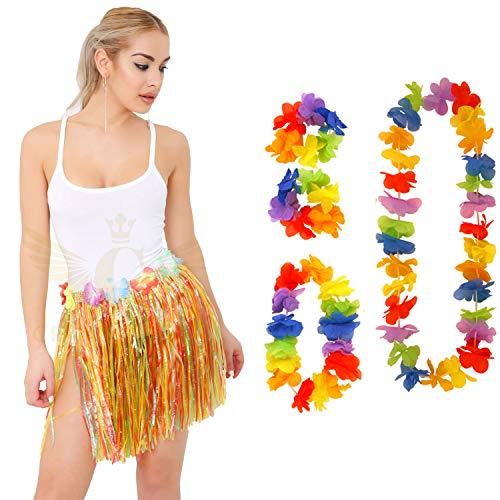Angies Fashion® 5 Stück hawaiianische Set Rock Stirnband Armbänder Girlande Halskette Lei Hula Fancy Dress Beach Party Dance Favors (mehr)