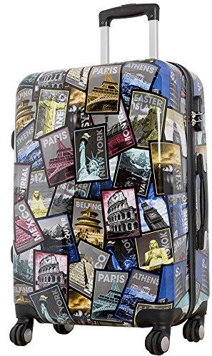 1 Koffer Hartschale Größe L Design Weltreise Material Polycarbonat Trendyshop365
