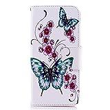 Tophung Funda para Samsung Galaxy J6, [Funda Tipo Cartera] de Piel sintética Suave con función Atril, Tarjetero y Ranura para identificación, Funda Protectora para Samsung Galaxy J6, Butterfly