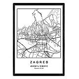Nacnic Stadtplan Blatt Zagreb skandinavischer Stil in