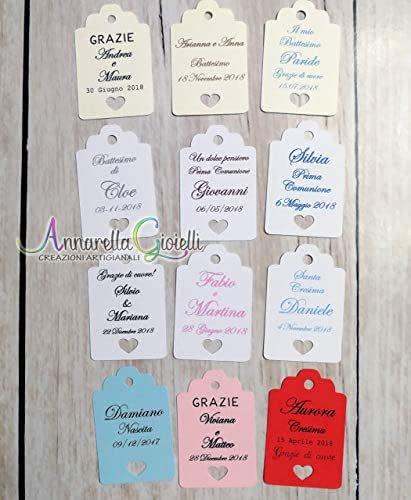 Cartellini per bomboniera personalizzati, vari colori, 30x45 millimetri, a partire da 20 pezzi, bomboniere, multicolor, etichette,matrimonio, battesimo, comunione, cresima, tag cuore