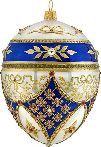 Joy to the World Glitterazzi Regal Jeweled Egg Polish Glass Christmas Tree Ornament Royal Poland -