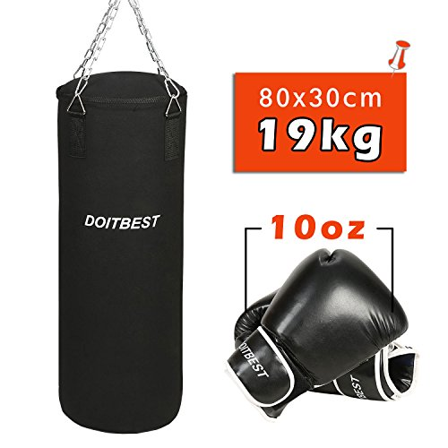 CCLIFE Boxsack Set Gefüllt Boxen Sandsack 80x30 cm 19kg Mit Boxhandschuhe (Größenwahl)
