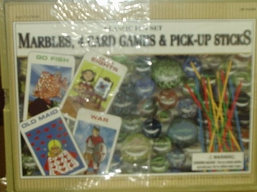 Classic Fun Set - Marbles, 4 Card Games & Pick-Up Sticks