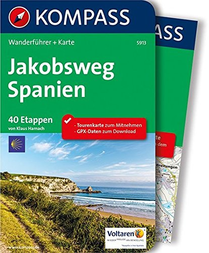 Jakobsweg Spanien: Wanderführer mit Extra-Tourenkarte 1:110.000, 40 Etappen, GPX-Daten zum Download. (KOMPASS-Wanderführer, Band 5913)