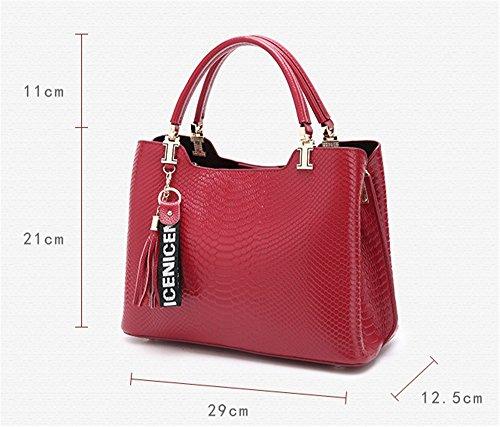 Coccodrillo XinMaoYuan Pattern pacchetto femmina Pelle borsa tracolla in pelle di sezione trasversale semplice cerniera colore borsetta,Nero Vino rosso