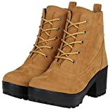 FASHIMO Women's Look Ankle Length Tan Leather Boot - 41EU