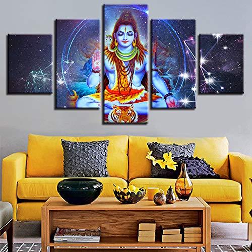 adgkitb canvas Modernes Dekor Leinwand Modulare Wandkunst Rahmen Fünf Stücke Home Schlafzimmer Religiöse Klassische Gemälde Indischer Gott