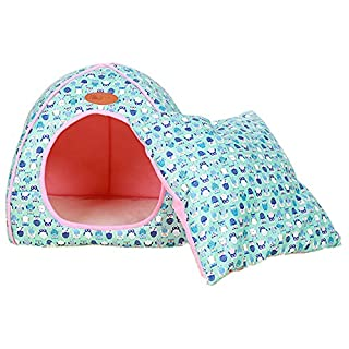 Anyu Lovely Soft Warm Pet Nest Foldable Pet Houses Dog Cat Bed + Cushion Blue L